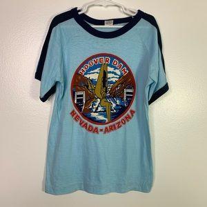 VTG Hoover Dam Arizona Nevada Blue Ringer T-shirt